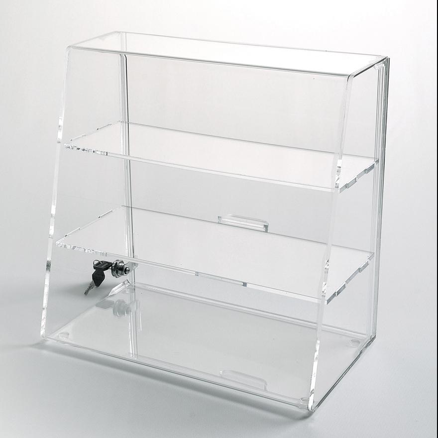 slanted front display case with shelves choice acrylic displays rh wholesaleacrylicdisplays com detolf display case shelves perspex display case shelves