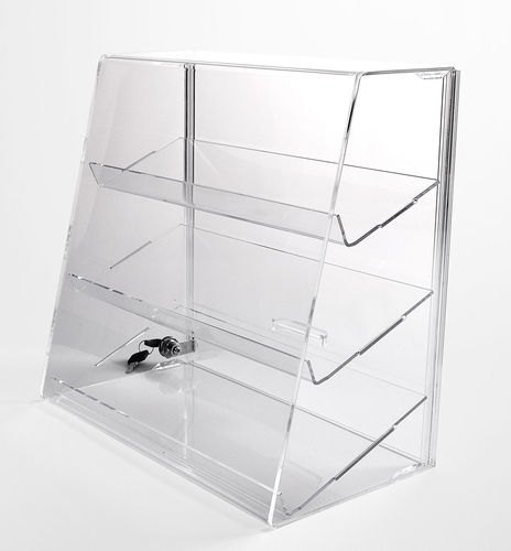 Acrylic Display Case with 3 Slanted Shelves | Locking Display Case | Slant Front Security Case | Ret