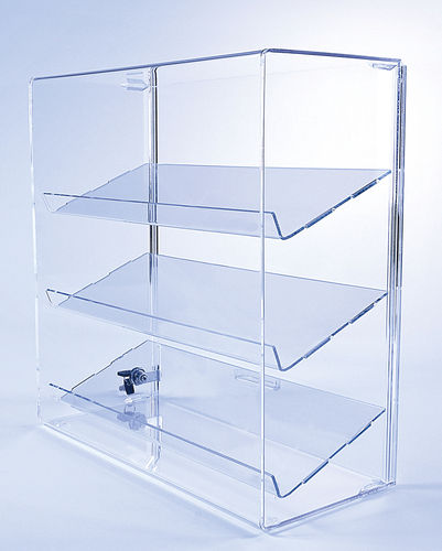 Retail Display Case with 3 Slanted Shelves | Acrylic Display Case | Locking Security Display Case