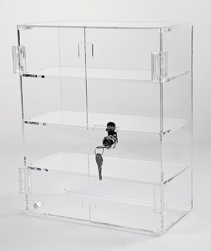 Locking Display Case with Hinged Front Doors & 3 Inside Shelves