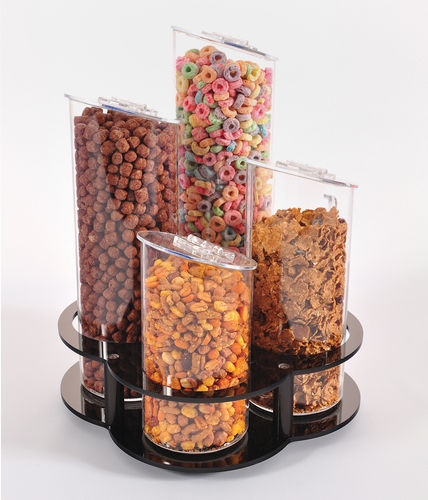 Cereal Tubes on a Rotating Base | Breakfast Cereal Display