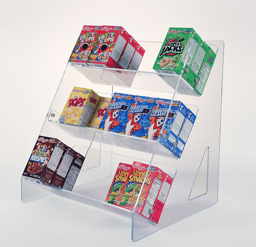 Cereal Box Display for Breakfast Bar | Cereal Box Rack with 3 Shelves #880-1875
