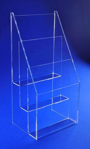 Tiered 8-1/2 x 11 Brochure Holder | Vertical Literature Display for Catalogs