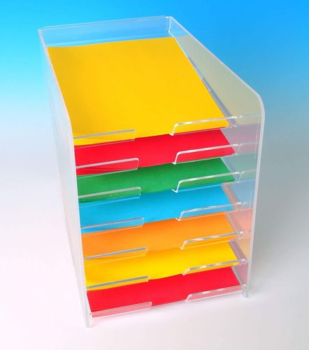 Paper Display with 7 Trays | Desktop Paper Holder Organizer