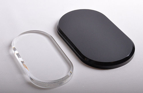 "Oval Bases | Clear or Black 1/2"" Thick"