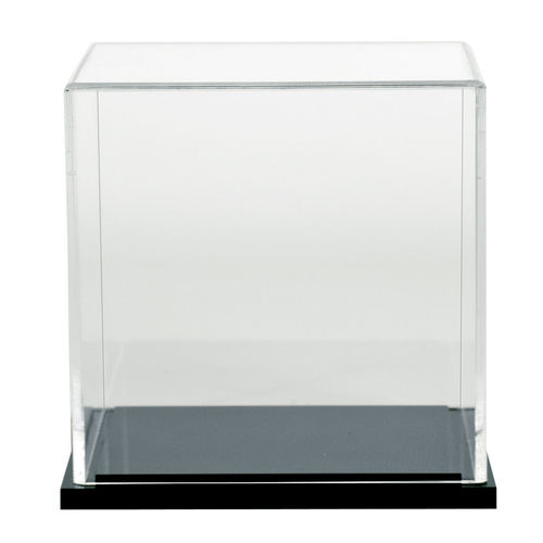 "Box Case with Black Acrylic Base | 18"" 5-sided Clear Cube"